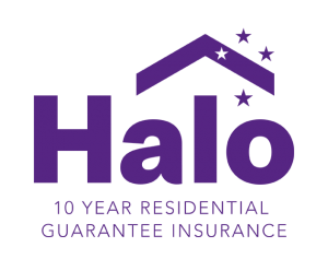 Halo Building Guarantee Logo in Purple