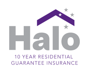 Halo Building Guarantee Logo in Silver and Purple